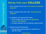 money from your college