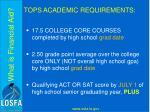 tops academic requirements