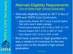 alternate eligibility requirements out of state high school graduates