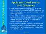 application deadlines for 2011 graduates