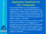 application deadlines for 2011 graduates1