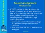 award acceptance military service