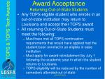 award acceptance returning out of state students