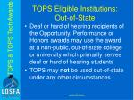 tops eligible institutions out of state