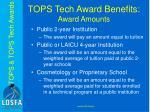 tops tech award benefits award amounts