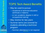 tops tech award benefits