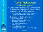tops tech award eligible programs