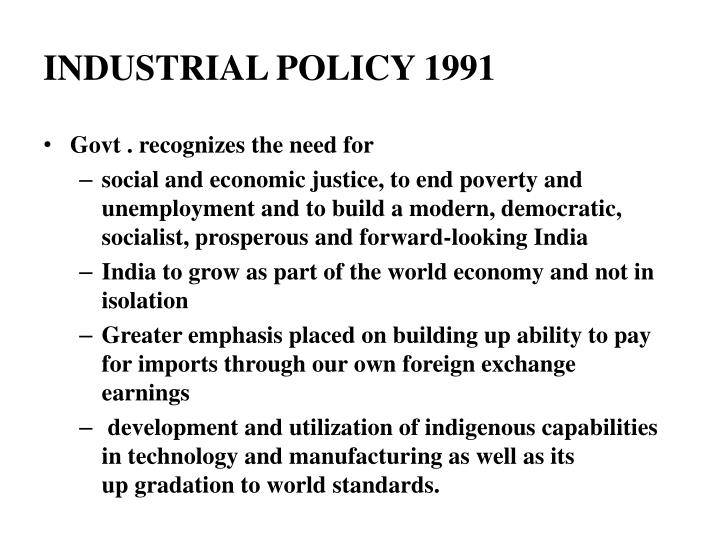 industrial policy 1991 n.