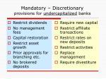 mandatory discretionary provisions for undercapitalized banks