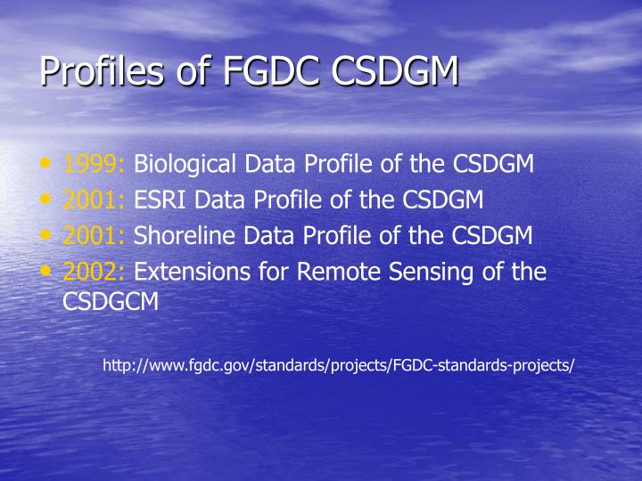 Profiles of FGDC CSDGM