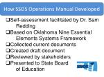 how ssos operations manual developed