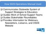 how ssos operations manual used