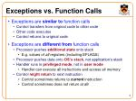 exceptions vs function calls