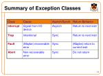 summary of exception classes