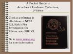 a pocket guide to accelerant evidence collection 2 nd edition