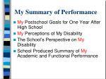 my summary of performance