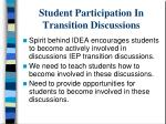 student participation in transition discussions