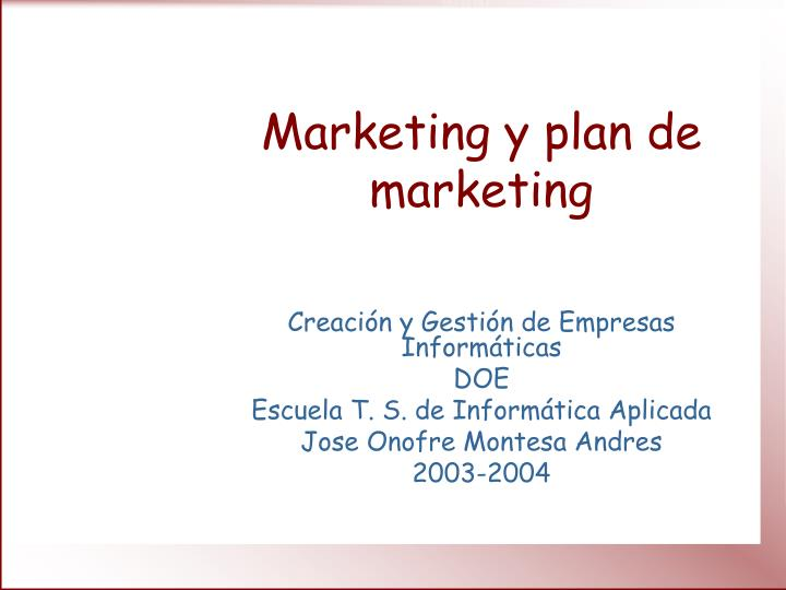 marketing y plan de marketing n.