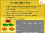 physics needs in 2008