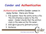 condor and authentication