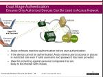 dual stage authentication ensures only authorized devices can be used to access network