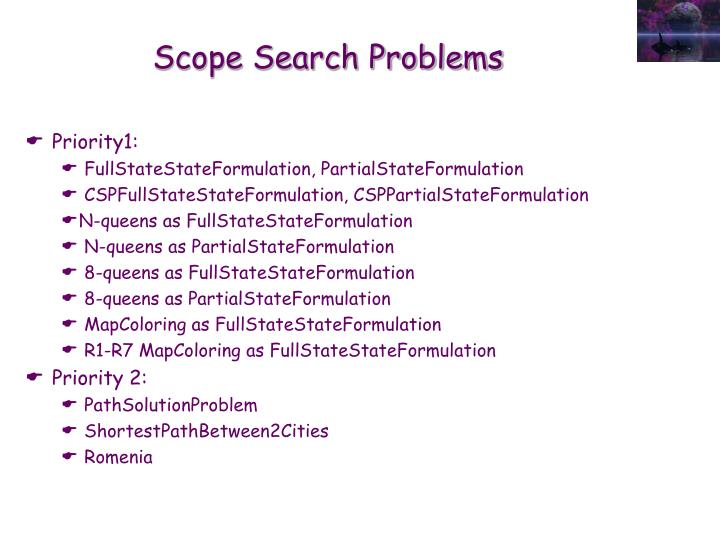 Scope Search Problems