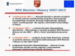 rpo warmia i mazury 2007 2013