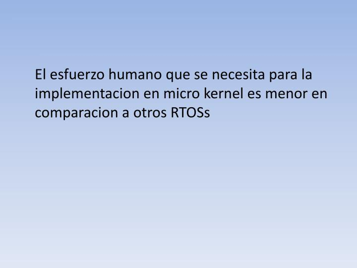 El esfuerzo humano que se necesita para la implementacion en micro kernel es menor en comparacion a...