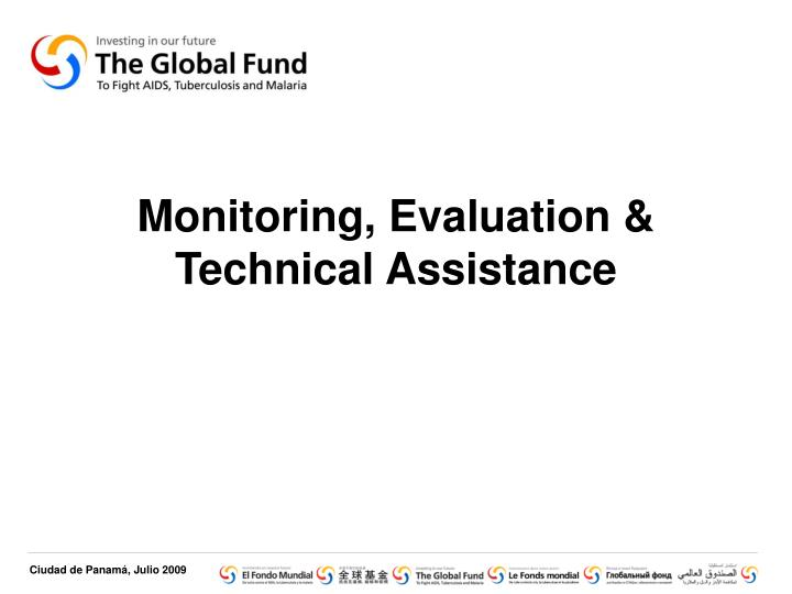 monitoring evaluation technical assistance n.