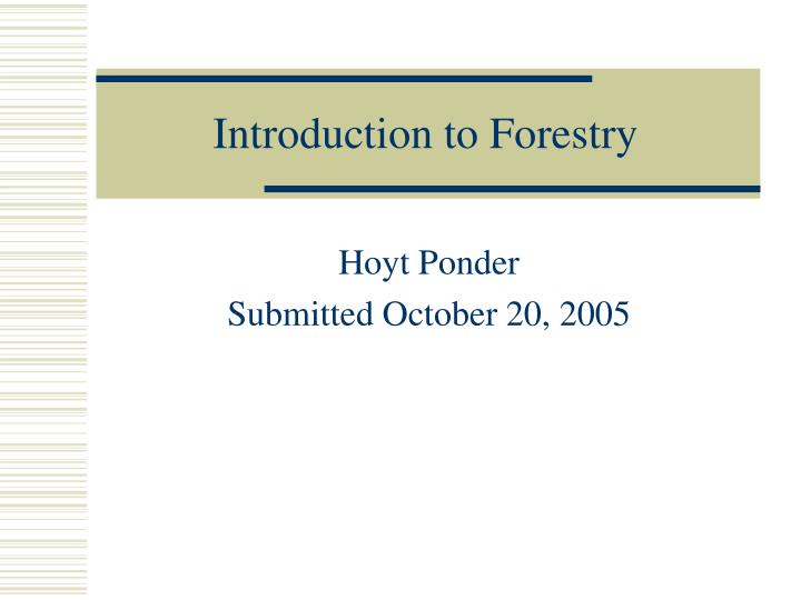 introduction to forestry n.