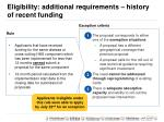 eligibility additional requirements history of recent funding