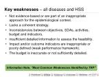 key weaknesses all diseases and hss