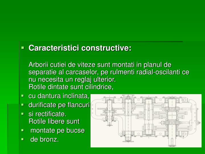 Caracteristici constructive: