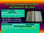 21 das evangelium erreicht alle nationen der welt