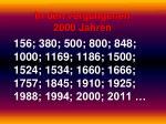 in den vergangenen 2000 jahren
