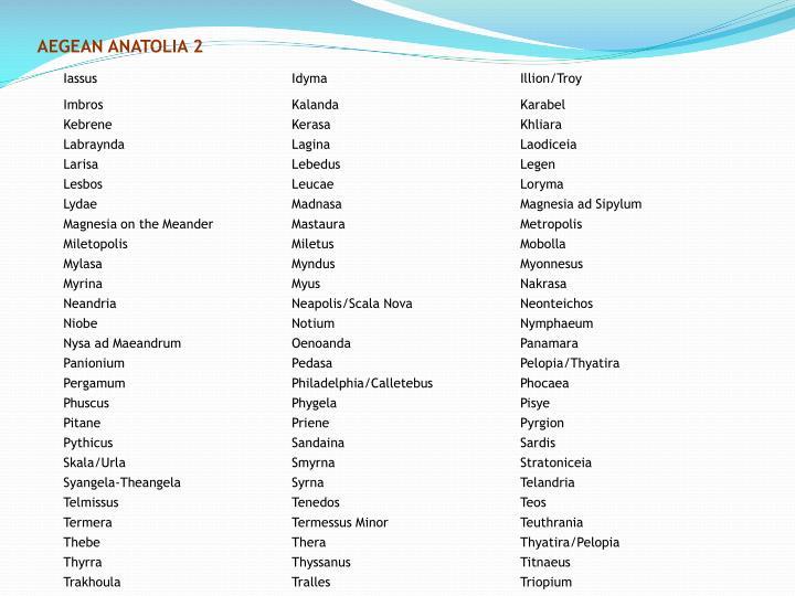 AEGEAN ANATOLIA 2
