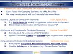 objectives scientific challenges