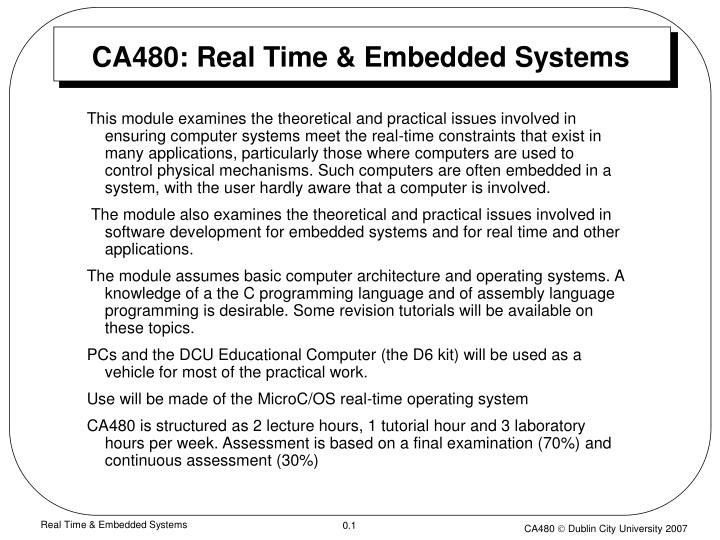 ca480 real time embedded systems n.