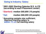 going to industry salary