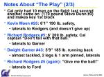 notes about the play 2 3