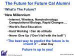 the future for future cal alumni