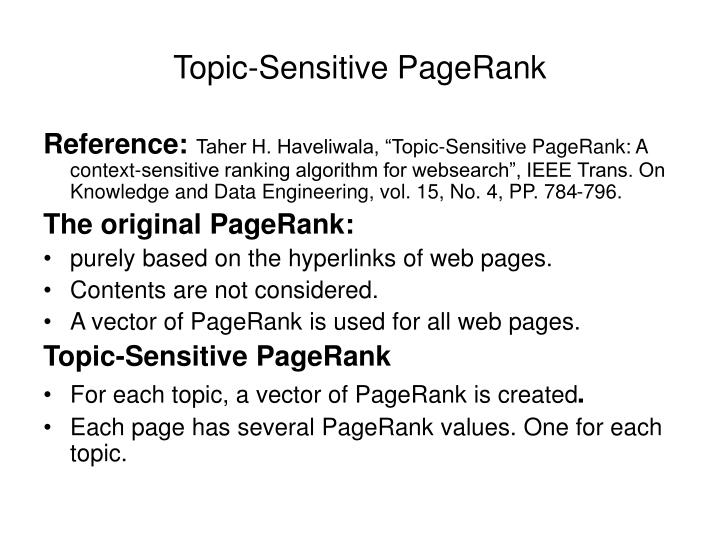 topic sensitive pagerank n.