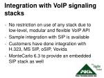 integration with voip signaling stacks