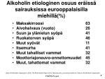 alkoholin etiologinen osuus er iss sairauksissa eurooppalaisilla miehill