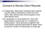 consent to review client records