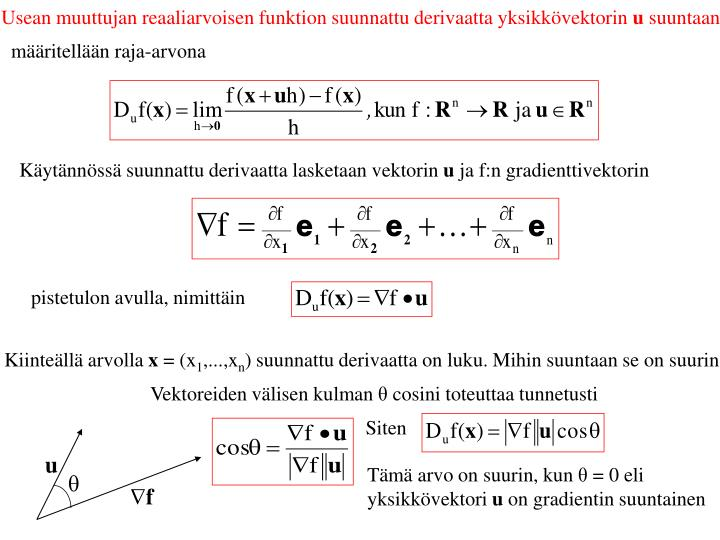 Usean muuttujan reaaliarvoisen funktion suunnattu derivaatta yksikkövektorin