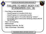 failure to meet body fat standards ch 18