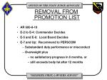 removal from promotion list