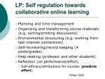 lp self regulation towards collaborative online learning