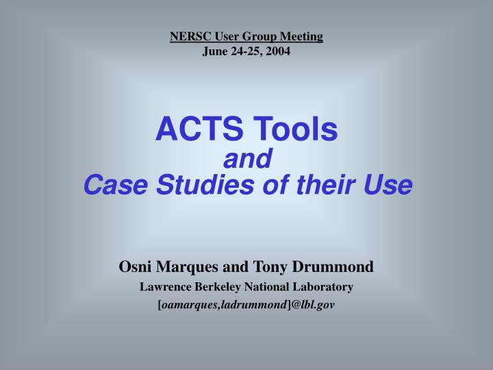 acts tools and case studies of their use n.